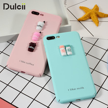 DULCII for iPhone6 iPhone7 3D Milk Coffee Hard Plastic PC Case Cute for Apple iPhone 6s 6 7 Plus iPhone6s Smartphone Cover