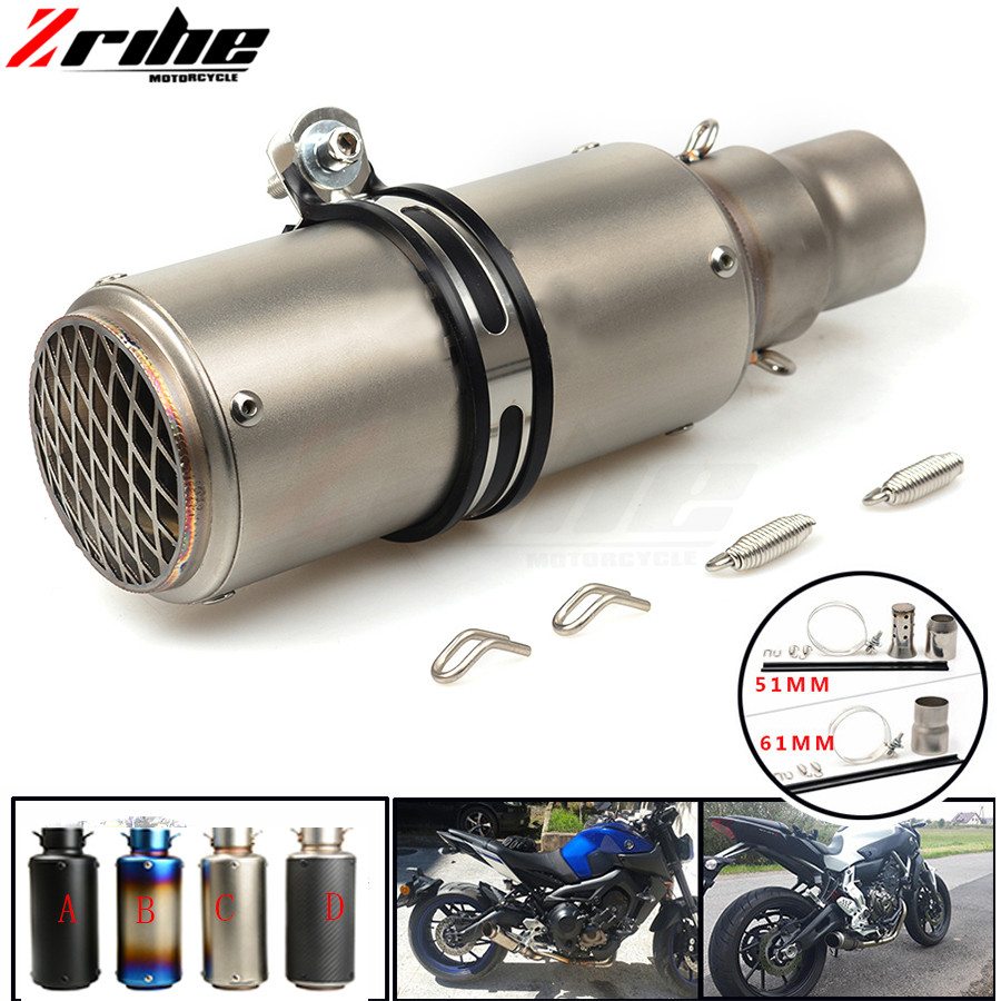 For 36-51 / 61mm Motorcycle Exhaust Pipe Scooter Modified Muffler Pipe Universal for Triumph Tiger 800/XC,Rocket III/Classic/R dirt bike 36 51 61mm ak exhaust muffler pipe for yamaha wr450 wr250 ttr125 xt250 yz250 yz426 yz450 f x fx r l e