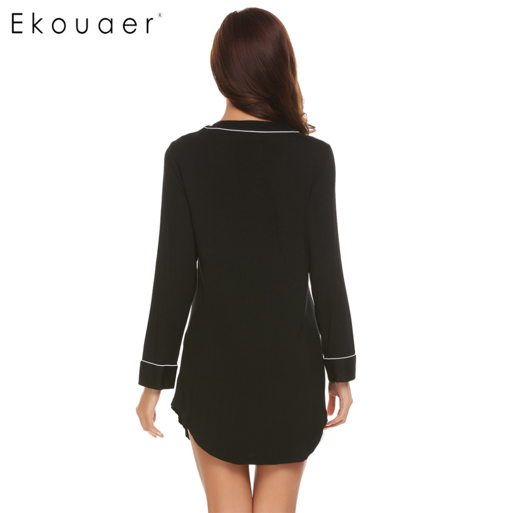 Ekouaer Casual Women Nightgown Sleepwear Long Sleeve Solid Contrast Color V-Neck Sleep Shirt Dress Female Nightie Home Clothes