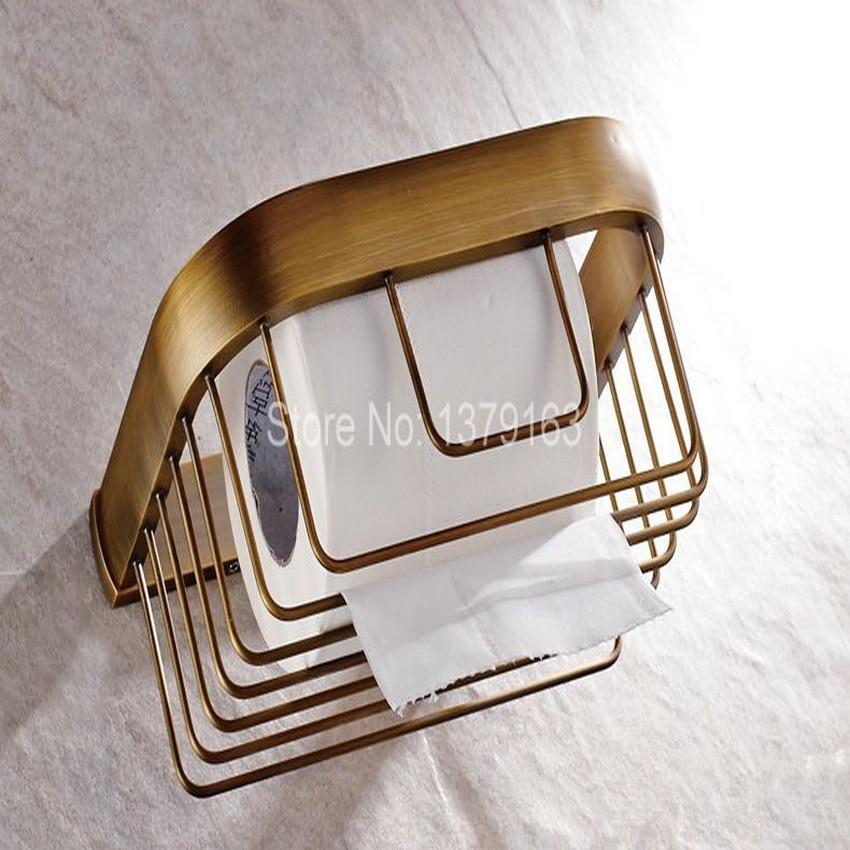 Bathroom Accessories Antique Brass Wall Mounted Toilet Paper Roll Holder Bathroom Shower Storage Basket aba534 creative style antique brass toilet paper holder bath storage basket wall mount