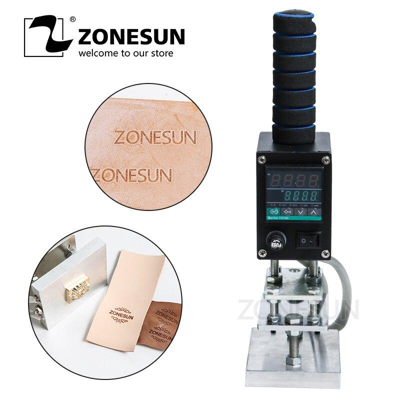 ZONESUN Handheld Leather Wood Paper Embossing Tool Hot Foil Stamping Machine Tool Manual Logo Embosser Branding