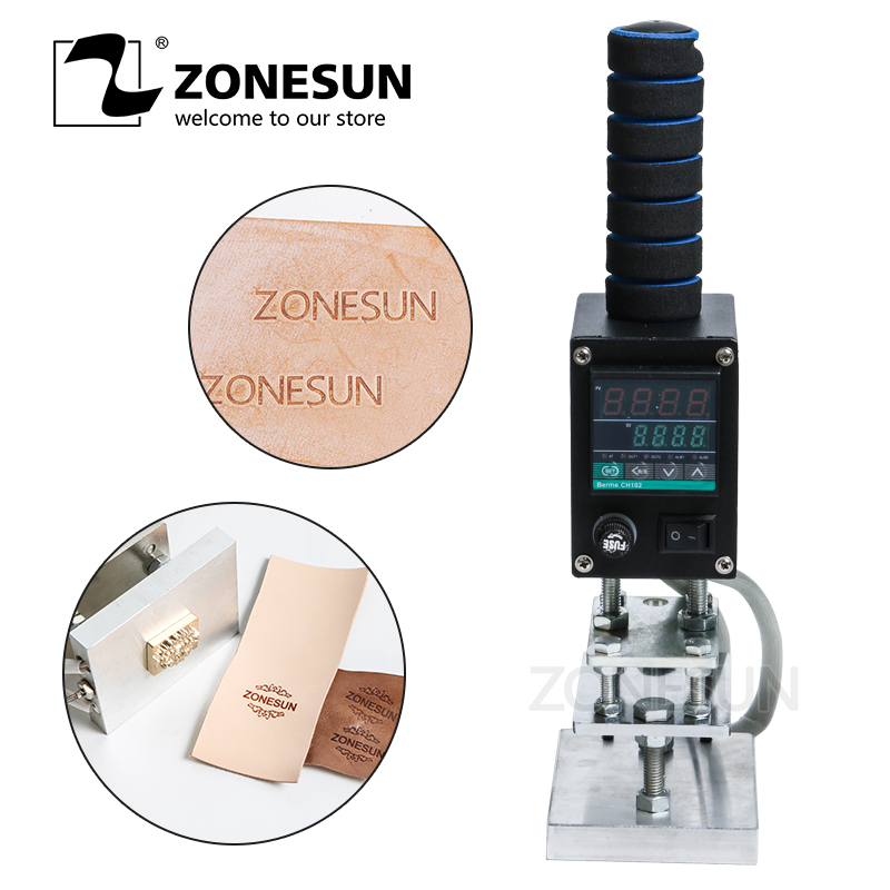 ZONESUN Manual Handheld Leather Wood Paper LOGO Hot Foil Stamping Creasing Embossing Machine Heat Press Machine Branding Iron
