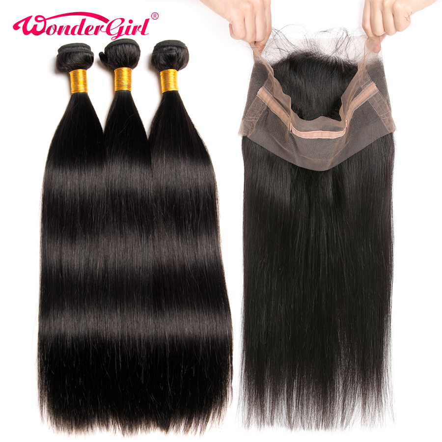 Pre Plucked 360 Lace Frontal With Bundle 4 PCS Lot Malaysian Straight Hair Bundles With Closure