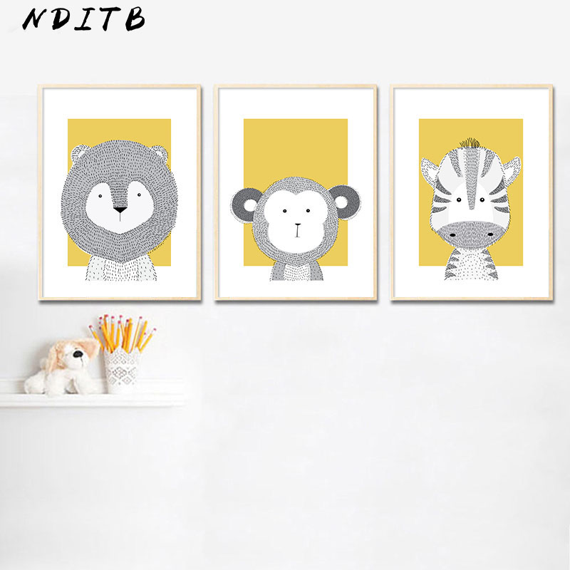 Woodland Animal Lion Monkey Canvas Poster Baby Nursery Wall Art Print Yellow Cartoon Painting Nordic Kids Decoration Picture