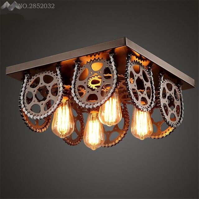 Lfh American Style Industriel Gear Plafonniers Fer Lampes De Plafond