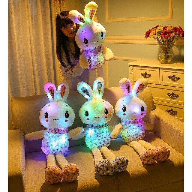 110 см плюшевый кролик Glow Световой индикатор мигает огни мягкие игрушки Рождественский подарок на день рождения куклы для подруги детская