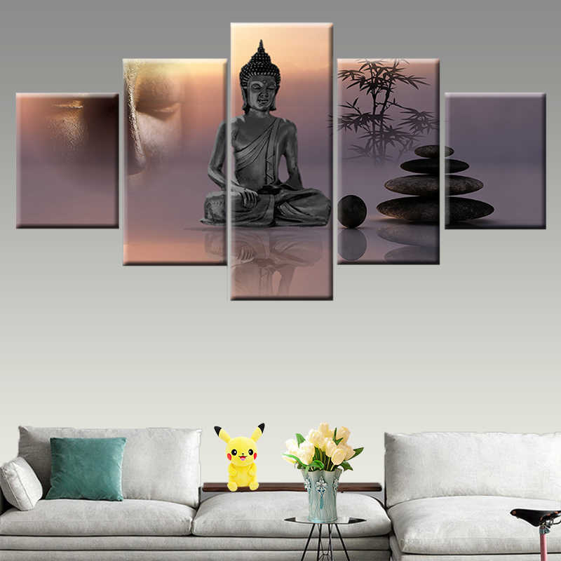 Canvas painting 5 panel zen Buddha statue modern living room wall artist residence decorative frame poster HD print picture
