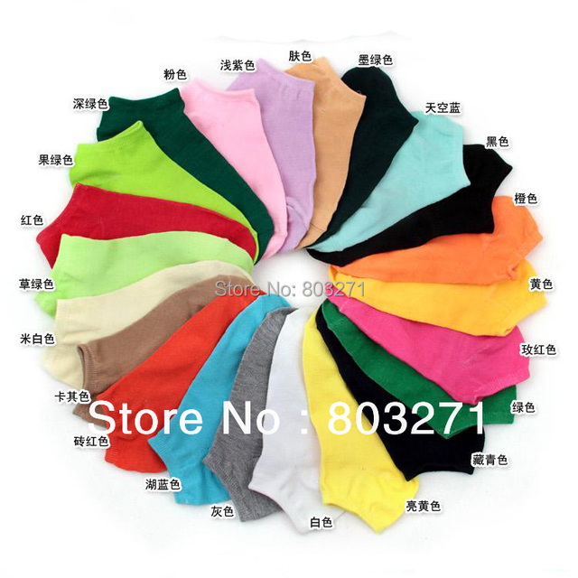 1Lot =20Pair=40Pcs Fashion Multi Color Women Cottone Socks Slippers Shallow Mouth Socks Invisible Lady's Socks,Free Shipping