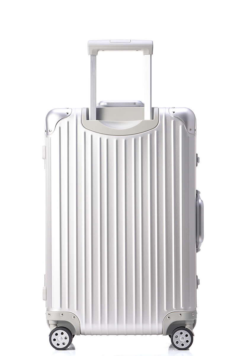 Free shipping 100% aluminium magnesium alloy luggage Universal wheel lockbox metal box Men and women on board boxes silver box