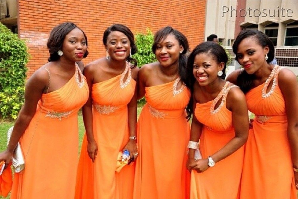 Orange Gown Wedding: A Line Long Crystal Maid Of Honor Gown For Wedding Orange
