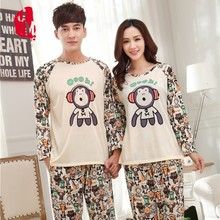 Couple Pajama Sets Spring Autumn Long Sleeve Cute Monkey Animal Lover Pajamas Quality Cotton Pyjamas Man Women Homewear