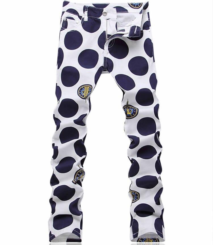 Fashion New Geometric Polka Dot Print Denim Trousers Fashion Blue Man Slim Jeans 2017 new designer korea men s jeans slim fit classic denim jeans pants straight trousers leg blue big size 30 34
