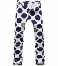 Мода Новая Геометрическая Полька Dot Печати Джинсовые Брюки Мода Синий Человек Тонкий Джинсы