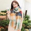 Plaid Winter Colorful Scarf Women Thickening Stripe Keep Warm Tatting Shawls And Scarves Pashmina Echarpe Bandana Hijab