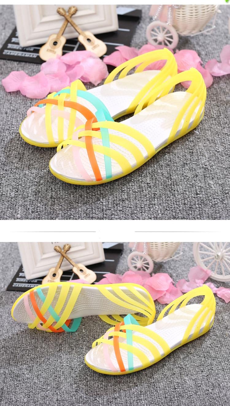 HTB1bbbcatfvK1RjSspoq6zfNpXaK Women Sandals Jelly Shoes Peep Toe Summer Beach Shoes Zapatos De Mujer Ladies Slides Candy Rainbow Flats Sandalias Mujer 2019