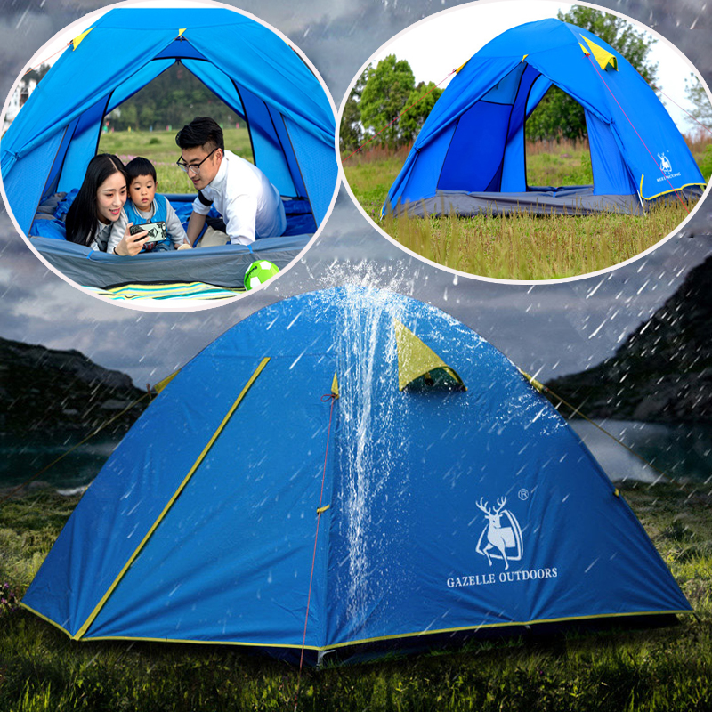 Camping Tent 3-4 Person Waterproof Winter lightwegiht tent Aluminum Rod Portable Outdoor Tent hiking Mountain Double Layer tents корзинки migura корзина для хранения
