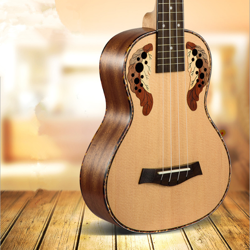 Sevenangel 26 pulgadas tenor Ukuleles Ingrid abeto uva estilo agujero de sonido 4 picaduras mini Guitarras eléctrica acústica ukulele pickup eq
