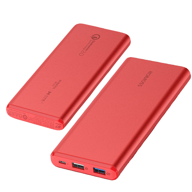 Original ROMOSS Power Bank 10000mAh GT Pro Quick Charge 3.0 LED Display Li-polymer Battery Dual USB Output for MI IPhone7 Huawei
