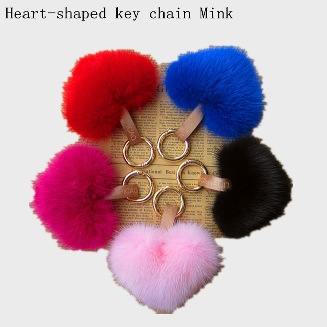 High quality Valentine's gift mink hair car keychain heart hair ball bags fur plush hangings female accessories