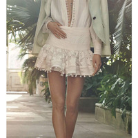 Cosmicchic Women Runway Embellished Floral Embroidery Short Skirt Top Quality Lace Patchwork Pintuck Little Ball Mini Skirt Zim