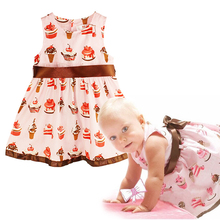 2017 Baby girls printed cakes cute baby dress/bowknot sleeveless baby girl clothing baby pinks dresses