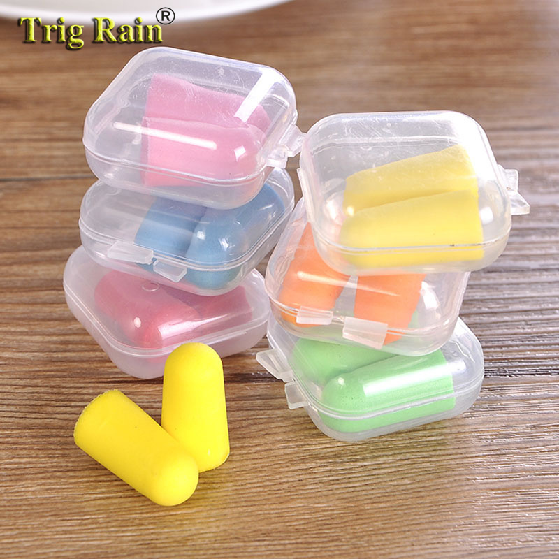 2pcs/box Soft Sleep Soundproof Sponge Sleeping Memory Foam Ear Caps Cups Plugs Travel Noise Prevention Earplugs Noise Reduction