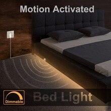 Lumière de lit à intensité variable avec capteur de mouvement et adaptateur dalimentation, bande de LED activée par le mouvement sous la lumière du lit pour armoire descalier de chambre de bébé