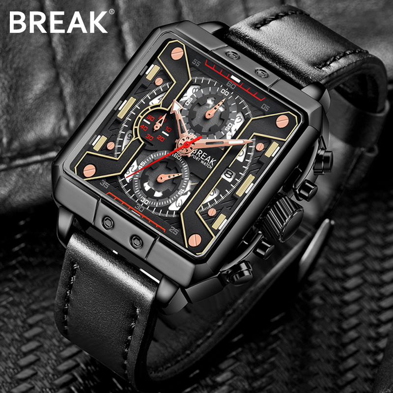 Break Mens Watches Top Brand Luxury Waterproof 24 hour Date Quartz Watch Man Leather Sport Wrist Watch Men Waterproof Clock Male 2 penny trucks blue 4 17