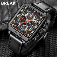 Break Mens Watches Top Brand Luxury Waterproof 24 hour Date Quartz Watch Man Leather Sport Wrist Watch Men Waterproof Clock Male
