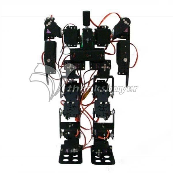ФОТО 17DOF Biped Robotic Educational Robot Humanoid Robot Kit Servo Bracket Ball Bearing Black