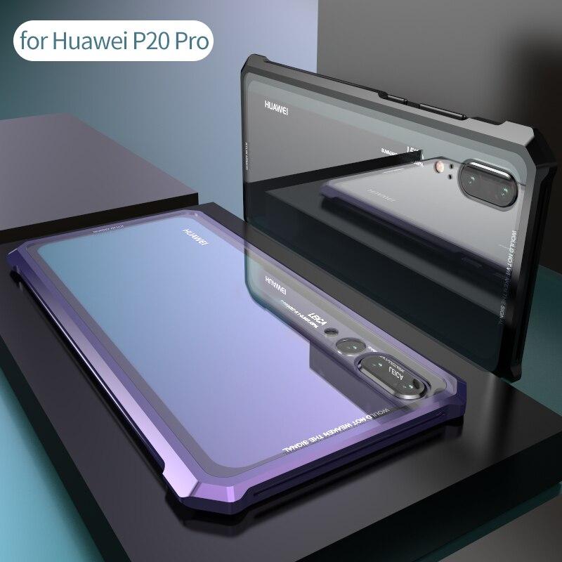 Trasparente Posteriore In Vetro Temperato Per Huawei P20 Pro Custodia Protettiva Cassa Del Telefono Delle Cellule di Vite Del Respingente Del Metallo Per P20 Aeromobili Lite