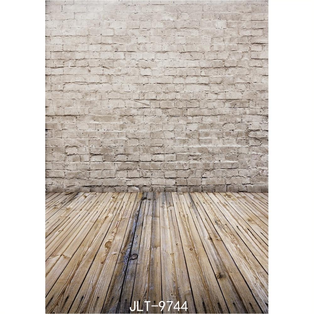 Fondo de madera de la pared y del piso de ladrillo clásico 5x8ft - Cámara y foto