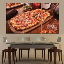 Restaurant And Pizza Shop Wall Decorative 3 Panel Delicious Food Red Wine Painting Modern Canvas Print Type Artwork