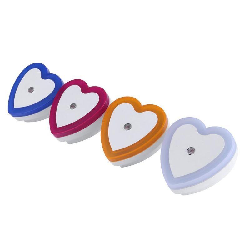 Light Sensor Control Night Light Mini EU US Plug Novelty Heart Shape Bedroom lamp For Baby Gift Romantic Colorful Lights
