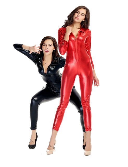 000a08240d Red Black Women Sexy Front Zipper Catsuit Wetlook Long Sleeve Cat Jumpsuit  Catwoman Cosplay Halloween Costume