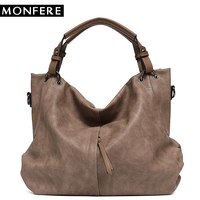 MONFERE Big Casual Soft Tote Shoulder Bags for Women Large Vegan Leather Zipper Female High Quality Luxury Design Purses&Handbag
