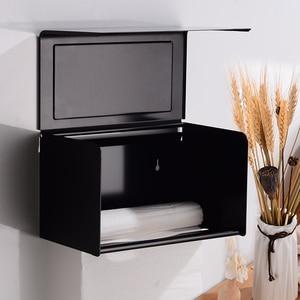 Image 3 - Scatola di Carta igienica Supporto di carta con Scaffale Creativo di Alluminio Nero Porta Asciugamani di Carta Decorativa Bagno Rotolo di Carta Holder Fissato Al Muro