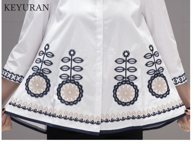 New Arrival 2020 Spring Autumn Ethnic Embroidery Women Shirts Stand Collar Three Quarter Sleeve Casual Loose Blouse Tops L3024 5