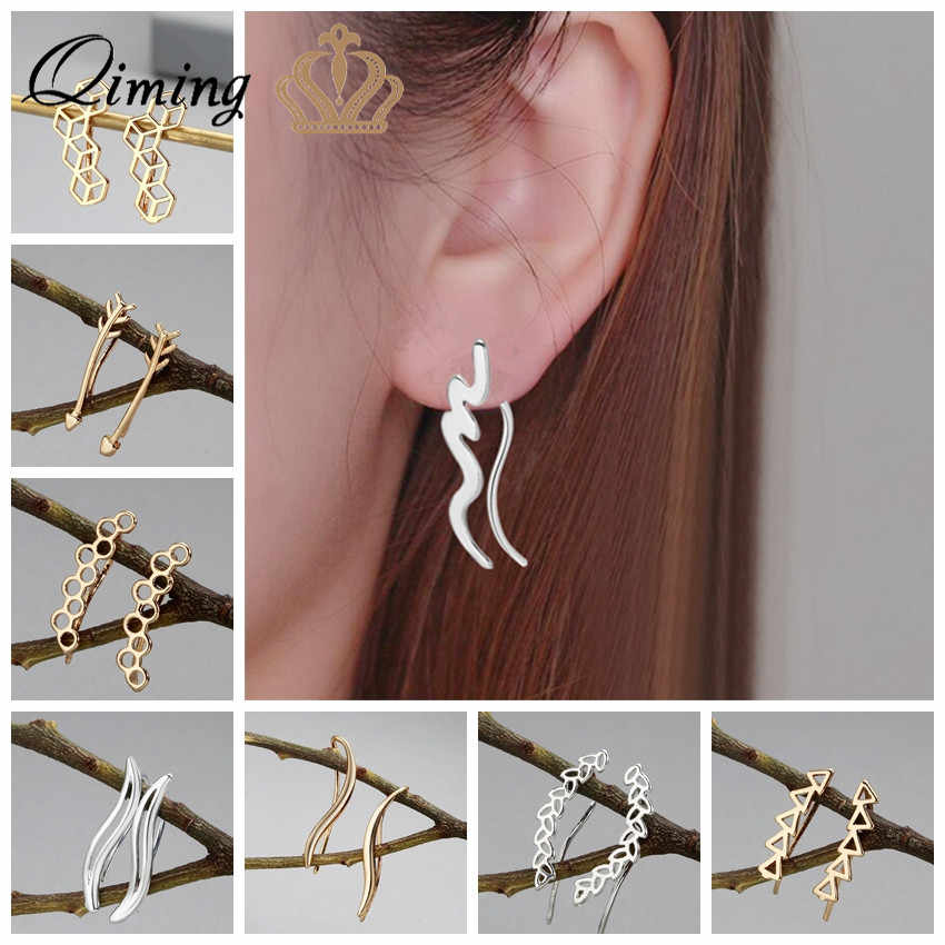 QIMING Simple Minimalist Earrings For Women Ladies Geometric Charm Gold Long Earrings Female Ethnic Fashion Jewelry Earring Gift