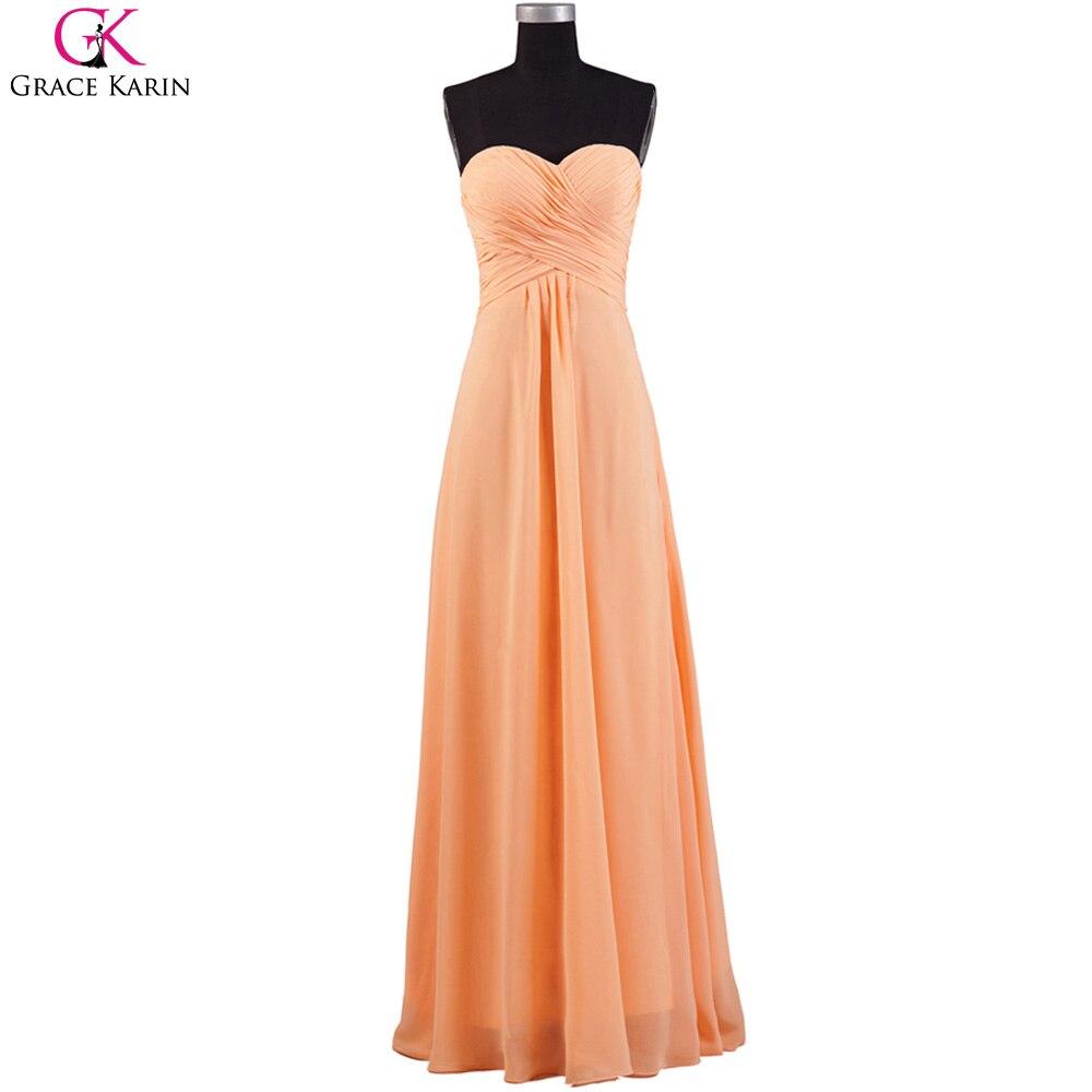 Gnade Karin Prom Kleider Einfache Design Trägerlosen Chiffon Orange ...