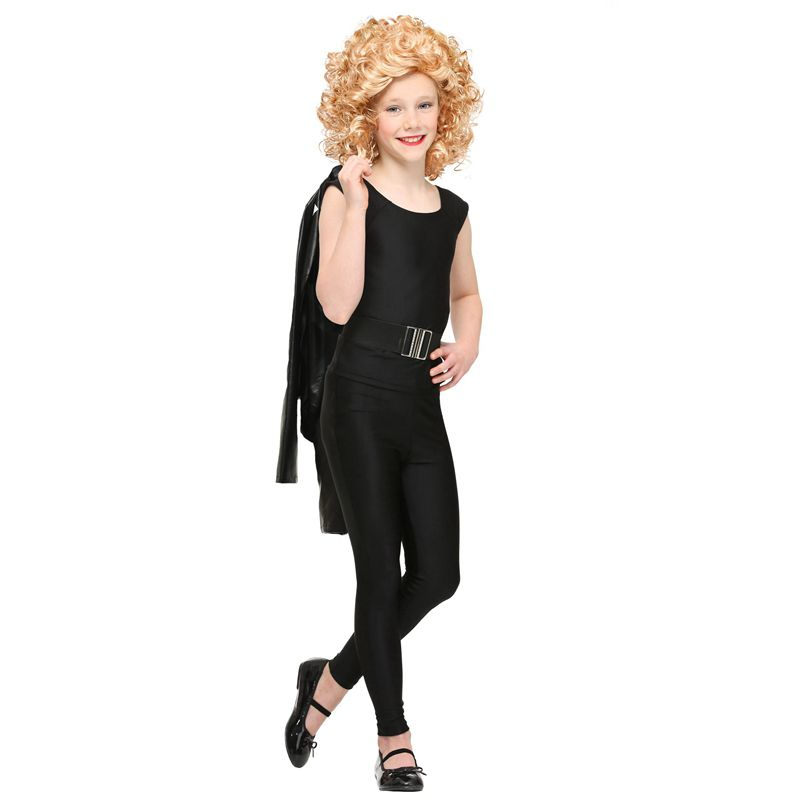 American Romatic Comedy Movie Grease Bad Girl Wild Sandy Role Play Tight Black Stretch Outfit Halloween Carnival Party Costume