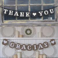 Wedding Supplies Gracias Spanish Thank You Banner Vintage Wedding Bunting Flags Party Decoration Garland Paper Photo