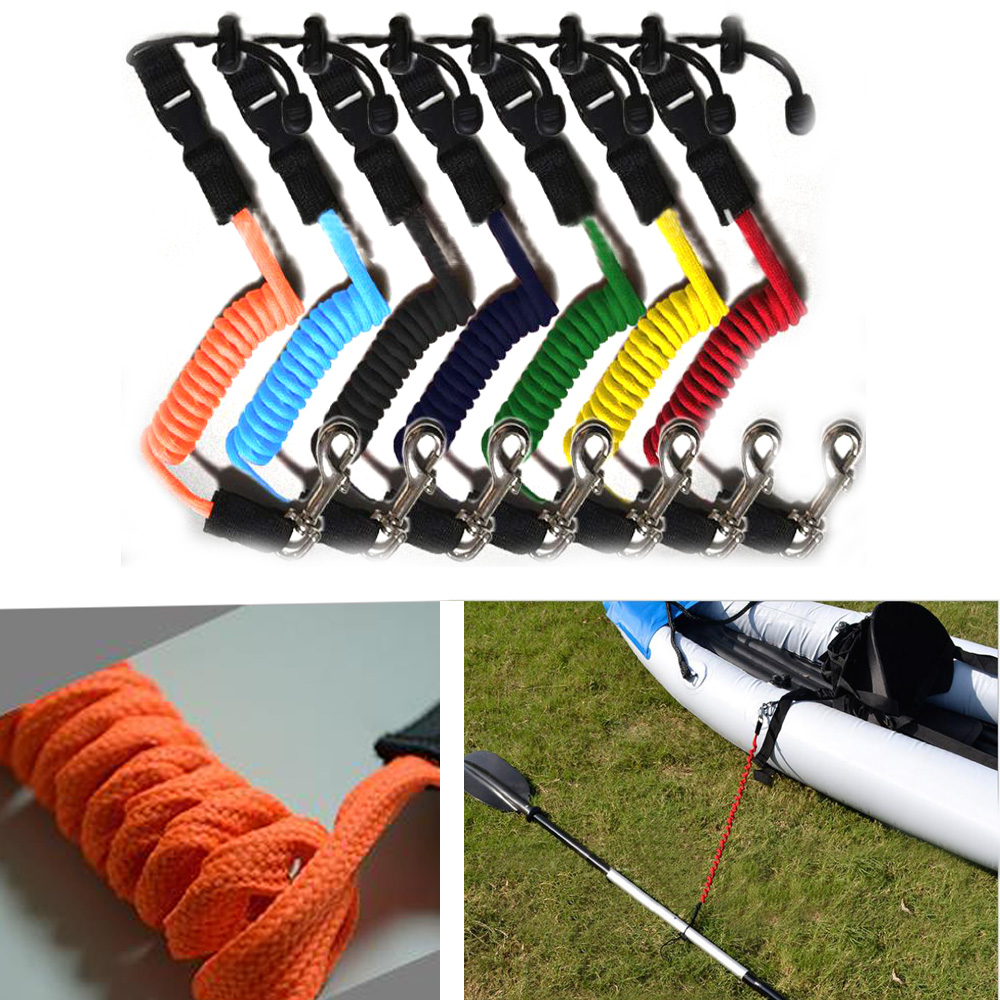 Elastic Coiled Cord Lanyard SUP Paddle Leash For Kayak Canoe Rowing Boat