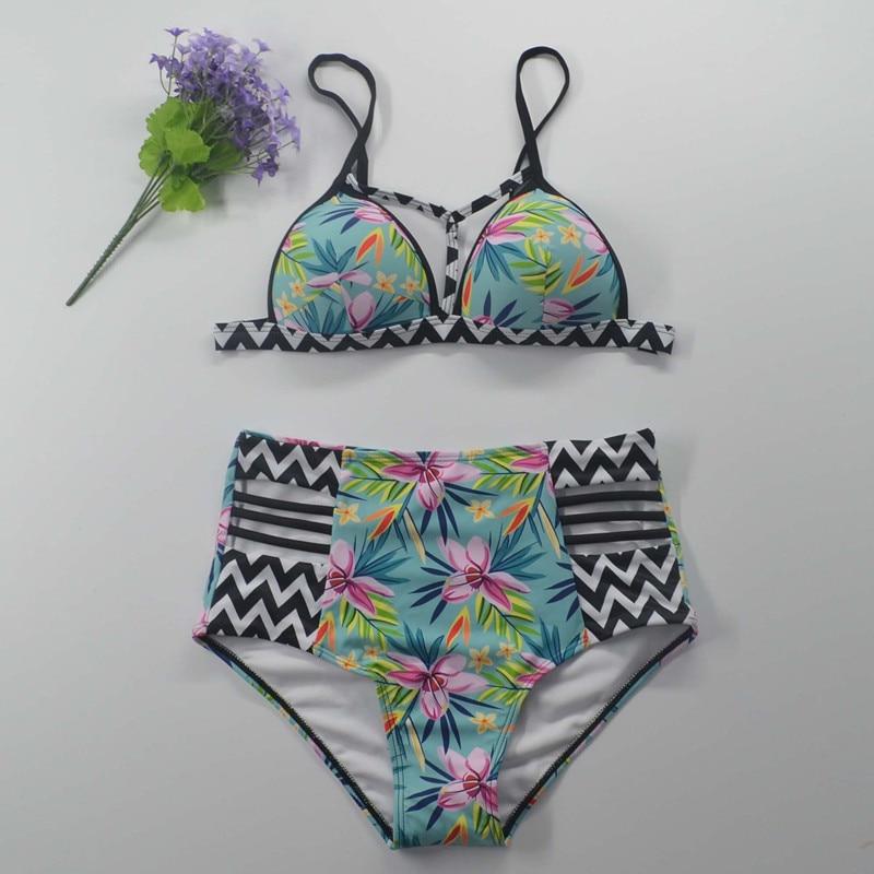 Bikinis 2018 yüksək belli üzgüçülük kostyumu push mayo - İdman geyimləri və aksesuarları - Fotoqrafiya 3