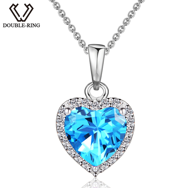 DOUBLE-R 1.44ct Natural Heart Blue Topaz Pendants Women 925 Sterling Silver Pendant 18'' necklaces Gift Brand Jewelry CAP00649E