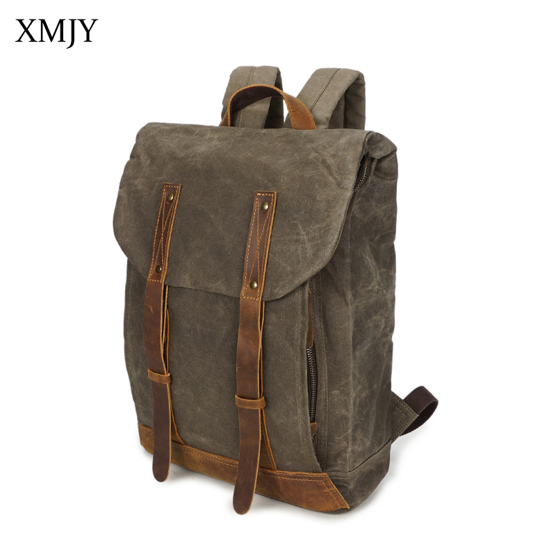 XMJY Men Canvas Backpacks Vintage School Bag Large Capacity Laptop Computer Backpack Waterproof Casual Rucksacks Travel Bags men s casual bags vintage canvas school backpack male designer military shoulder travel bag large capacity laptop backpack h002