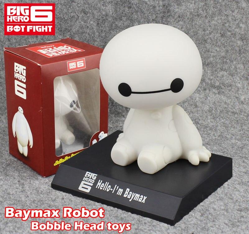 "Free Shipping Cute 4"" <font><b>Big</b></font> <font><b>Hero</b></font> <font><b>6</b></font> <font><b>Baymax</b></font> Robot Bobble Head Shaking Head Toy Model Car Decoration 10cm Boxed PVC <font><b>Action</b></font> <font><b>Figure</b></font> Toy"