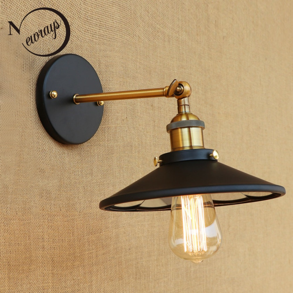 Loft Retro adjustable Glass lenses shade iron wall lamps E27 led modern wall lights sconce for bathroom bedroom living room bar novelty led wall lamps glass ball wall lights for home decor e27 ac220v