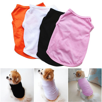 2019 Summer Pet Puppy Clothes Small Dog Vest Casual Pure Color T Shirt for Cats Soft Polyester Clothing Black White Pink Orange