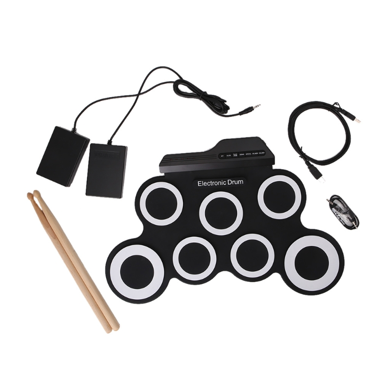 New Portable USB Electronic Drum Shelves Practice Folding Silicone Drums 6pcs set 39x 27 5x2 5cm silica gel foldable portable roller up usb electronic drum kit 2 drum sticks 2 foot pedals
